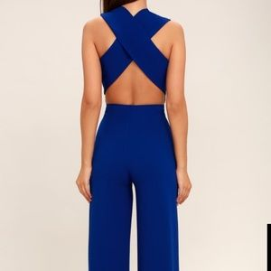 NWT Lulus Thinking Out Loud Blue Backless Jumpsuit